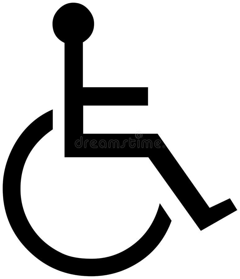 Illustration des Handikaps oder des Rollstuhlpersonensymbols stock abbildung