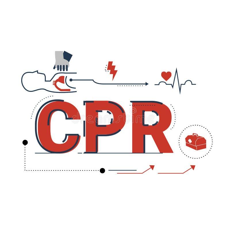 Illustration des Herz-Lungen-Wiederbelebung CPR-Benennungskonzeptes vektor abbildung