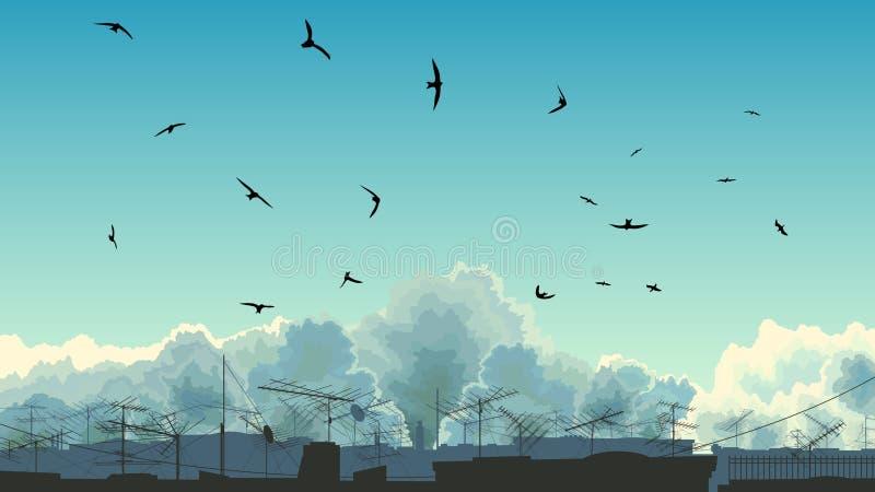 Illustration des Himmels, der Vögel und der Dächer. vektor abbildung
