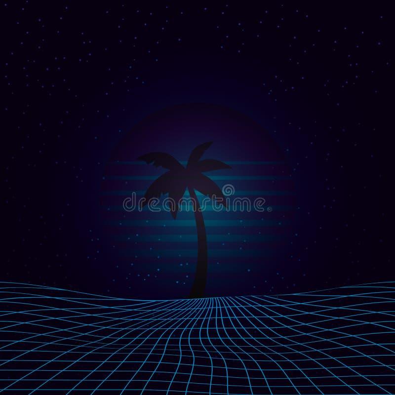 Illustration des Hintergrund-3D angespornt durch achtziger Jahre Szene, synthwave und retrowave Musik stock abbildung