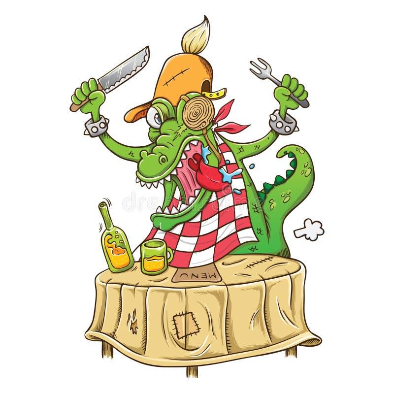 Illustration des hungrigen Krokodils der Karikatur stock abbildung