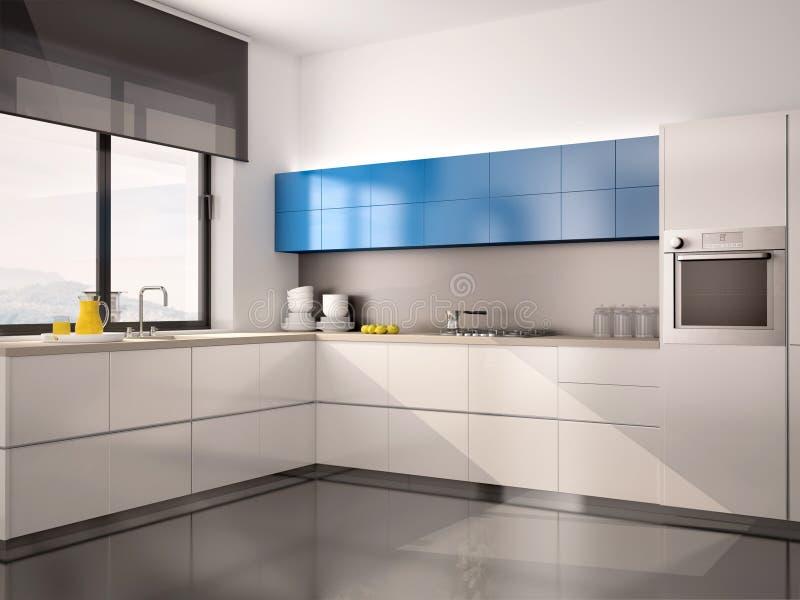 Illustration des Innenraums der modernen Küche im weißen blauen Grau lizenzfreie abbildung