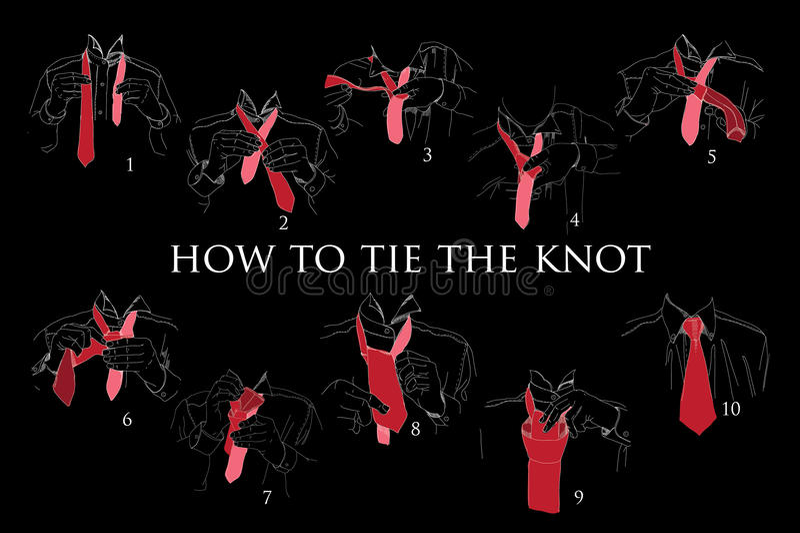 Illustration des instructions, plan, brochure pour que la façon attache le noeud illustration stock
