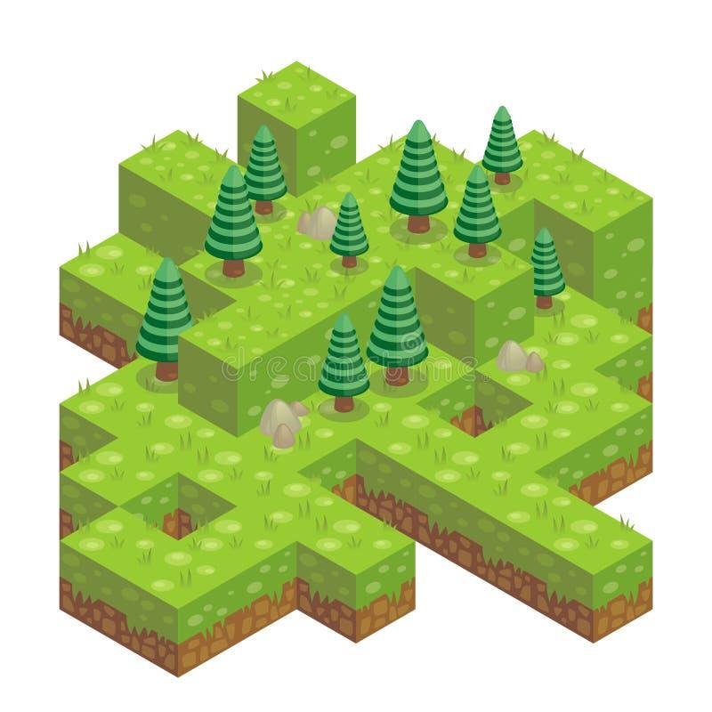 Illustration des isometrischen Waldes lizenzfreie abbildung