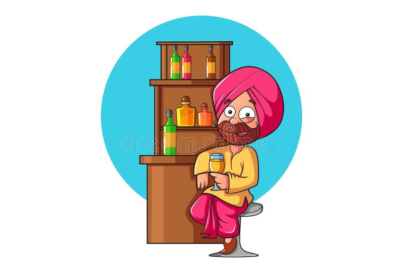 Illustration des Karikatur Punjabi-Mannes vektor abbildung