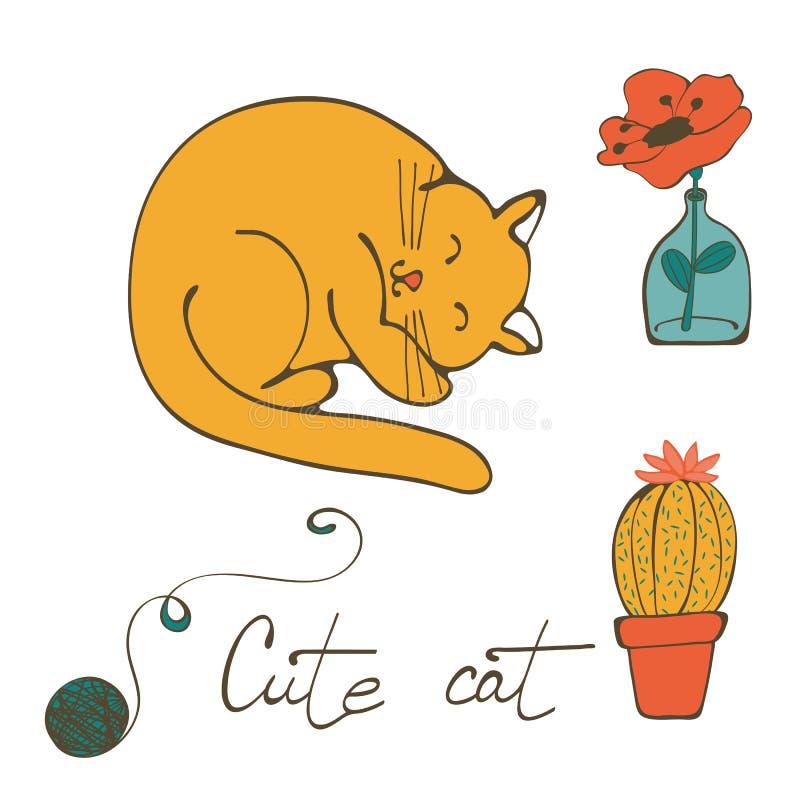 Illustration des Katzenschlafens, Blume im Glasvase und Kaktus lizenzfreie abbildung