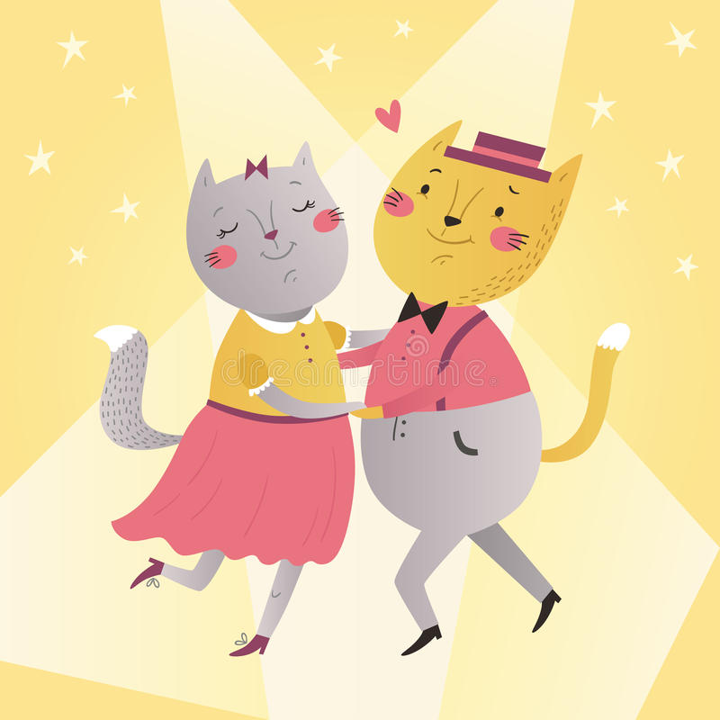 Illustration des Katzentanzens stock abbildung