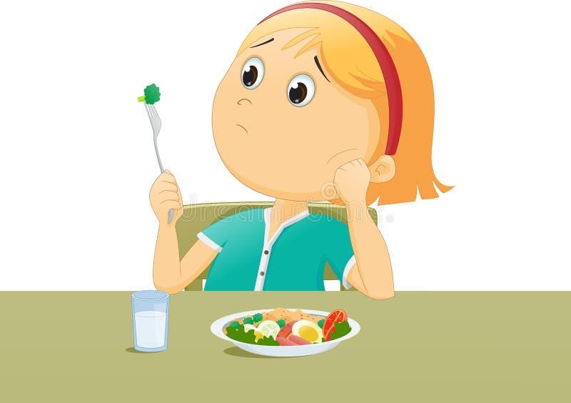 Illustration des Kindes traurig mit seinem Frühstück stock abbildung