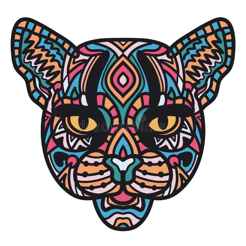 Illustration des Kopfes der Wildkatze auf weißem Hintergrund Hand gezeichnete Katze für Malbuch Zen-Gekritzelkunst, Tätowierungsd stock abbildung