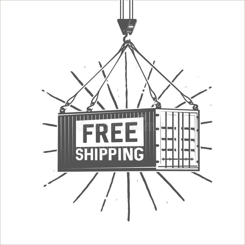 Illustration des kostenlosen Versands Kran hebt einen Behälter mit Fracht an lizenzfreie abbildung