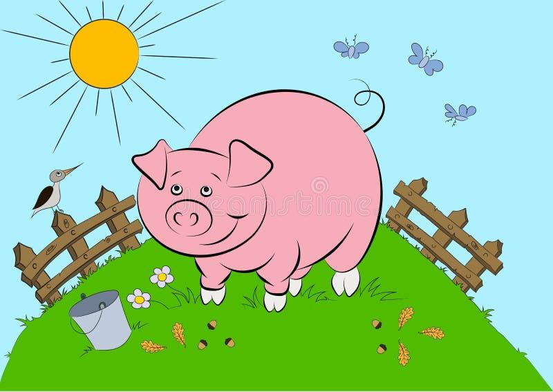 Illustration des lächelnden rosa Schweins lizenzfreie abbildung