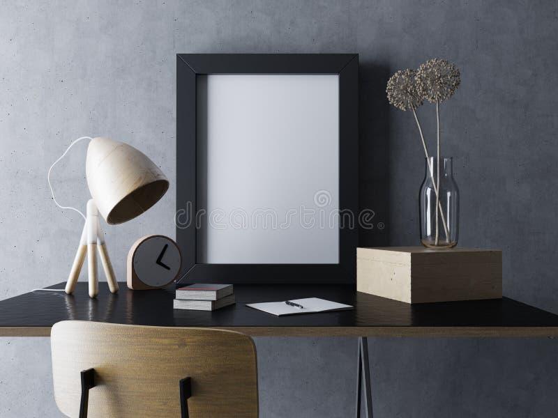 Illustration 3d des leeren Plakatinnenspotts des gemütlichen Designerarbeitsplatzes herauf Schablone mit dem vertikalen Rahmen, d lizenzfreie abbildung