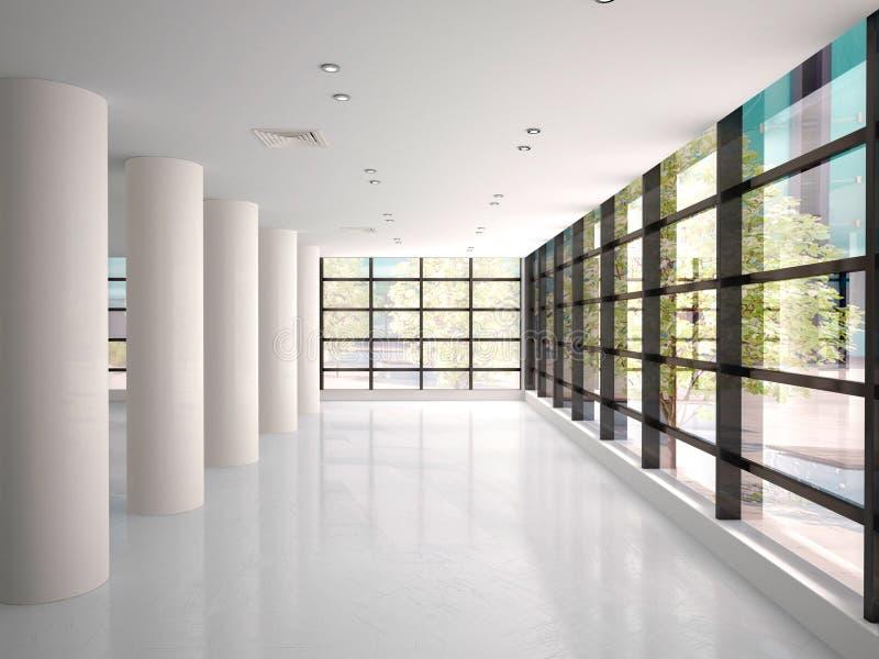 Illustration des leeren und hellen Korridors in den modernen Büro-BU vektor abbildung
