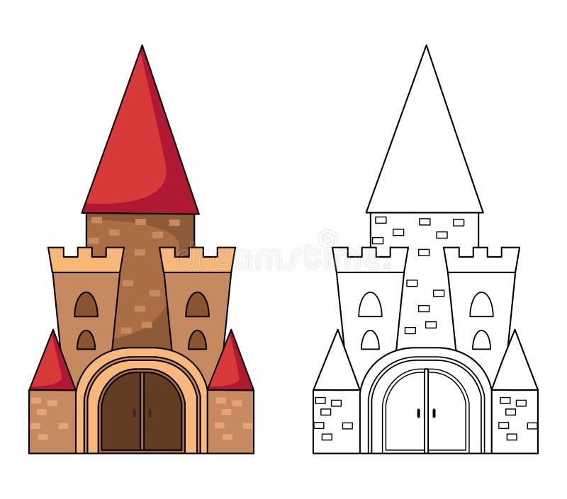 Illustration des Lernspiels für Kinder und Farbtonbuchform vektor abbildung
