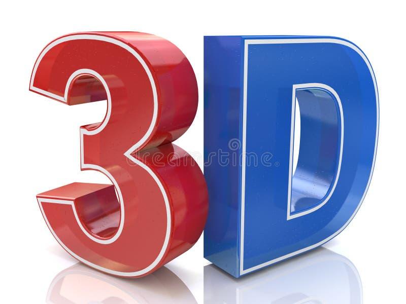 Illustration des Logos des Wortes 3D geschrieben in rote und blaue Farbe lizenzfreie abbildung