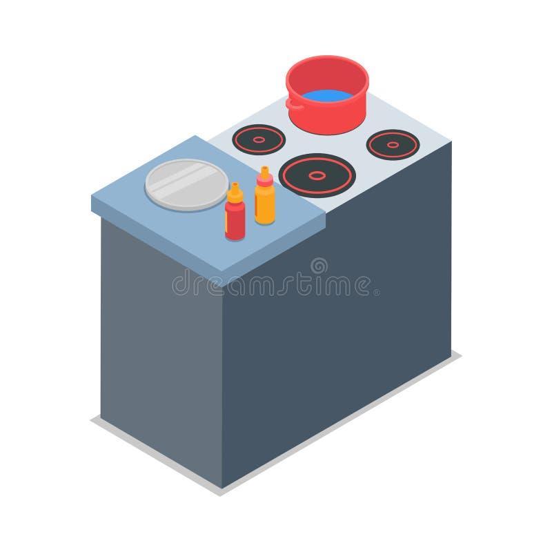 Illustration des lokalisierten Kochers mit rotem rundem Topf lizenzfreie abbildung