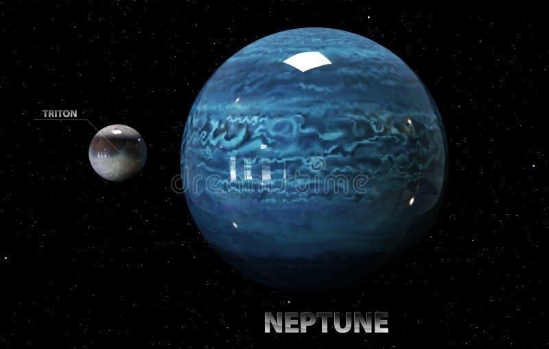 Illustration des lunes et de l'étoile de Neptune Éléments de cet im illustration stock