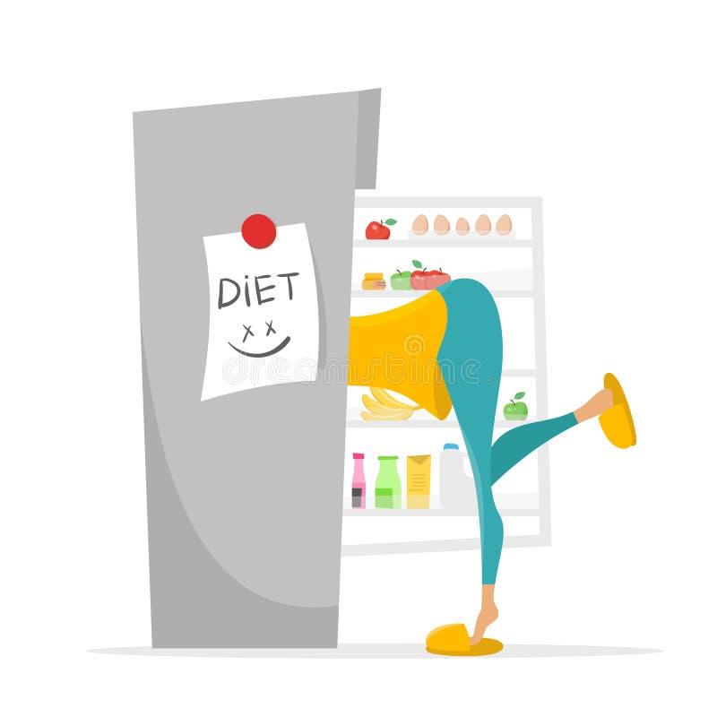 Illustration des Mädchens etwas suchend, im Kühlschrank zu essen vektor abbildung