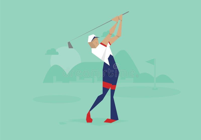 Illustration des männlichen Golfspielers konkurrierend im Ereignis lizenzfreie abbildung