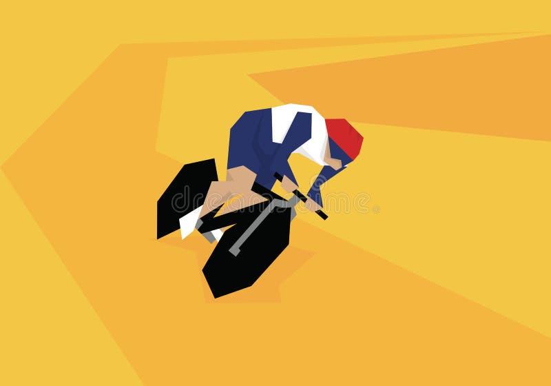 Illustration des männlichen Radfahrers konkurrierend im Ereignis am Velodrome stock abbildung