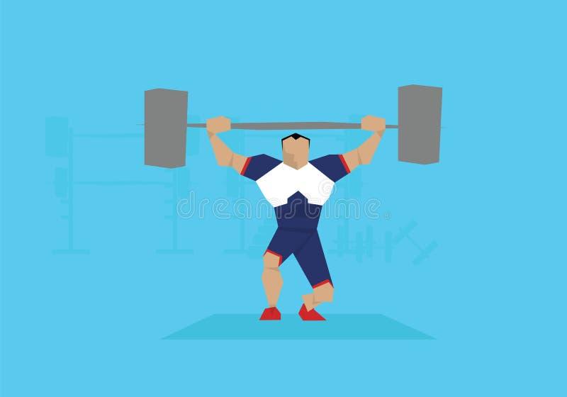 Illustration des männlichen Weightlifter konkurrierend im Ereignis vektor abbildung