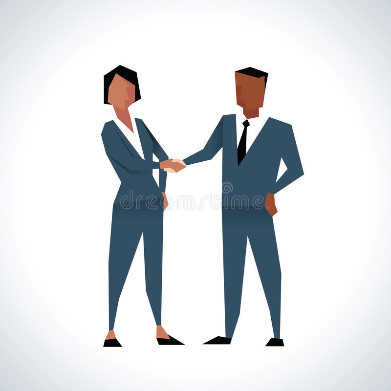 Illustration des mains d'And Businesswoman Shaking d'homme d'affaires illustration stock