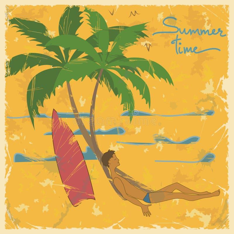 Illustration des Mannes liegend unter Palme auf einem Strand lizenzfreie abbildung