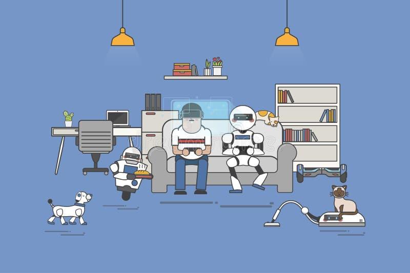 Illustration des Mannes und des Roboters, die VR erfahren vektor abbildung