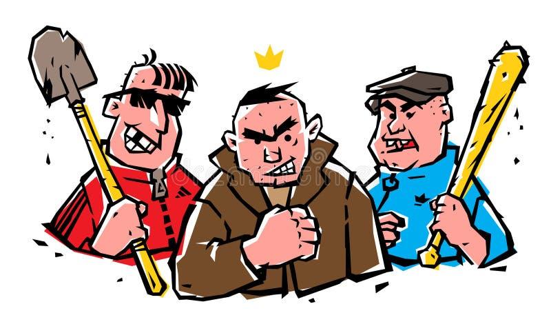 Illustration des mauvais garçons Les types ne sont pas des hippies Image des truands gais sur un fond d'isolement blanc illustration de vecteur