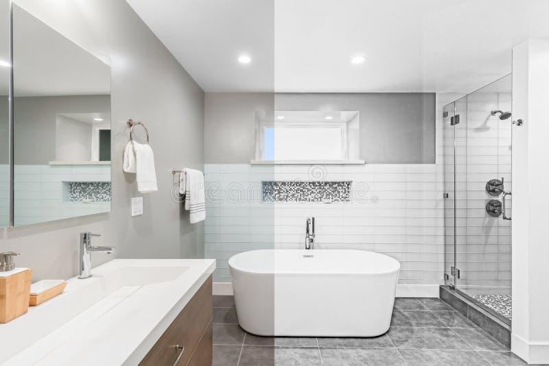 Illustration des modernen Badezimmers von der Fotografie zum Zeichnen lizenzfreies stockbild
