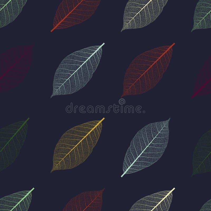 Illustration des nahtlosen Musters mit dem Skelett von Blättern lizenzfreies stockfoto