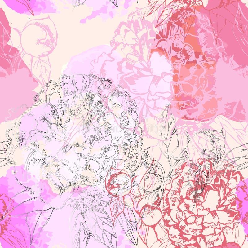 Illustration des nahtlosen Musters mit rosa Pfingstrose und weißen Tulpenblumen auf weißem Hintergrund Romantischer Entwurf für lizenzfreie abbildung