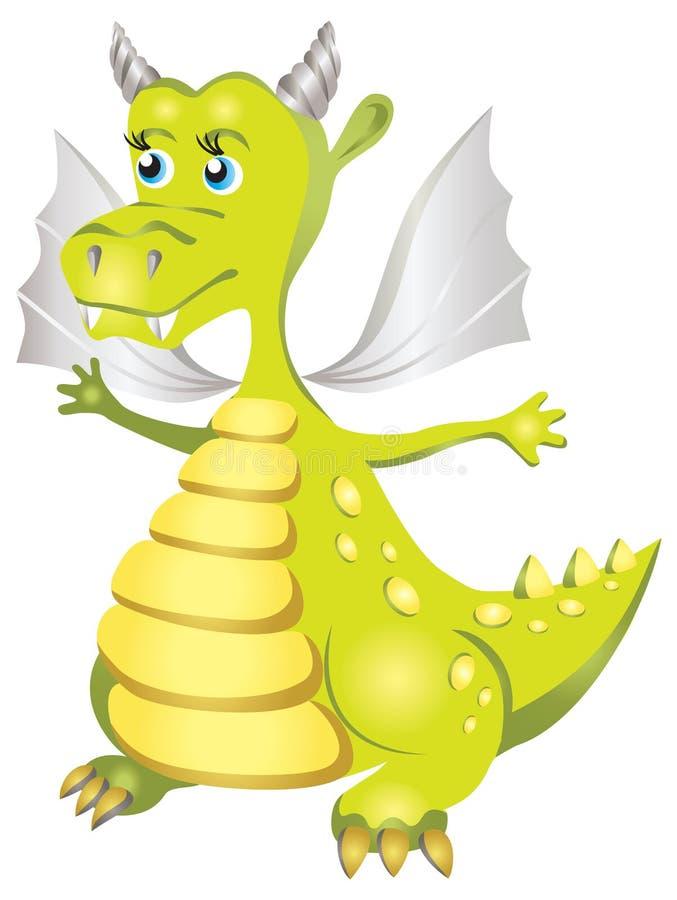 Illustration des netten grünen Drachen in der Karikaturart lizenzfreie abbildung