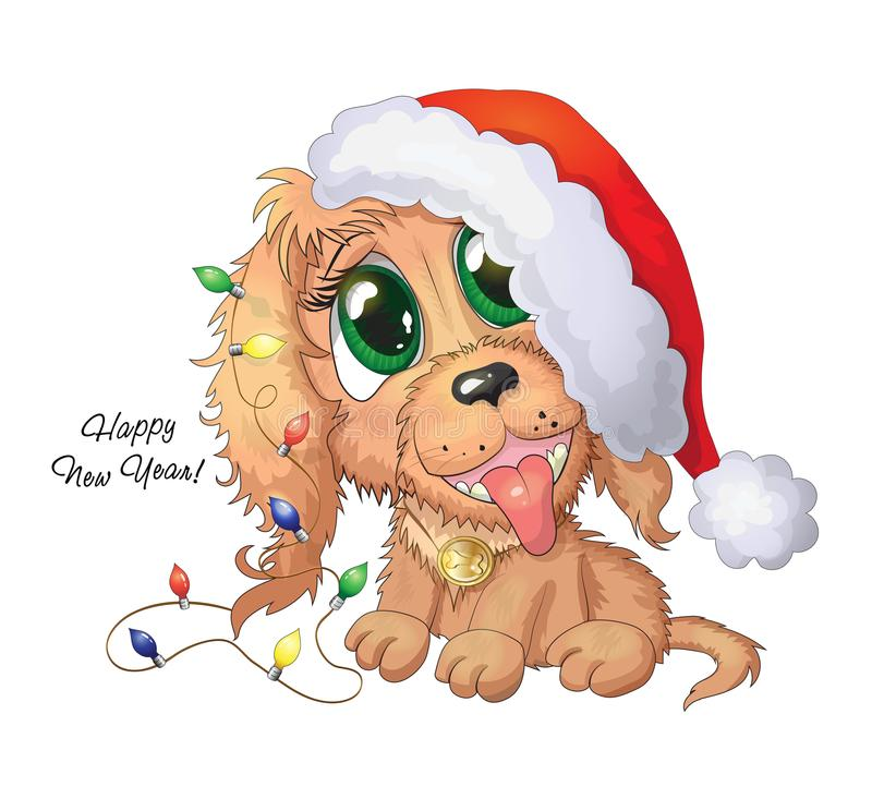 Illustration des netten Karikaturhündchens mit neuem Jahr beleuchtet lizenzfreies stockfoto