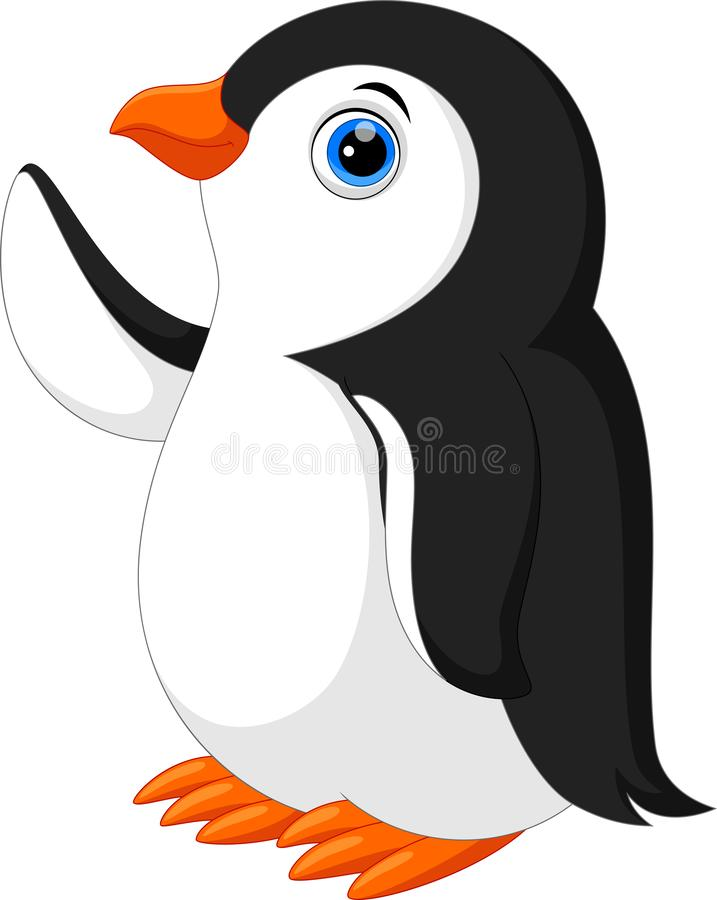 Illustration des netten Pinguinkarikaturwellenartig bewegens stock abbildung