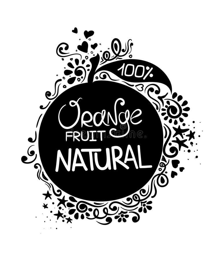 Illustration des orange Frucht-Schattenbildes und des Musters lizenzfreie abbildung