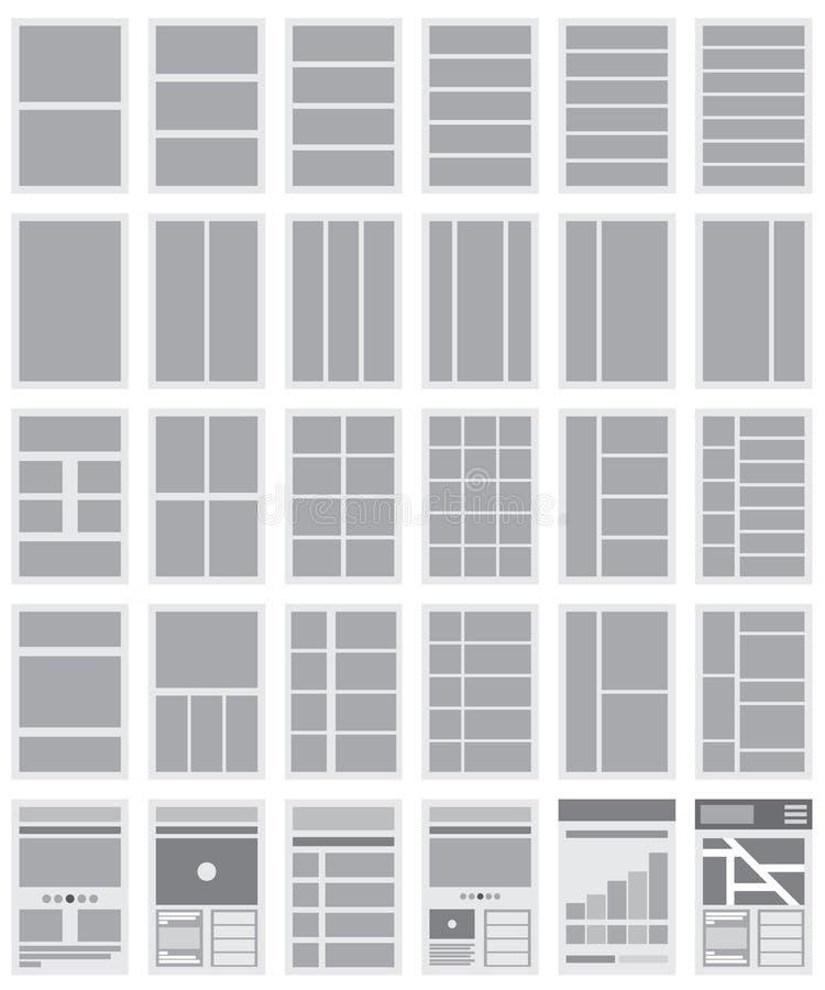 Illustration des organigrammes et des plans du site de site Web illustration stock