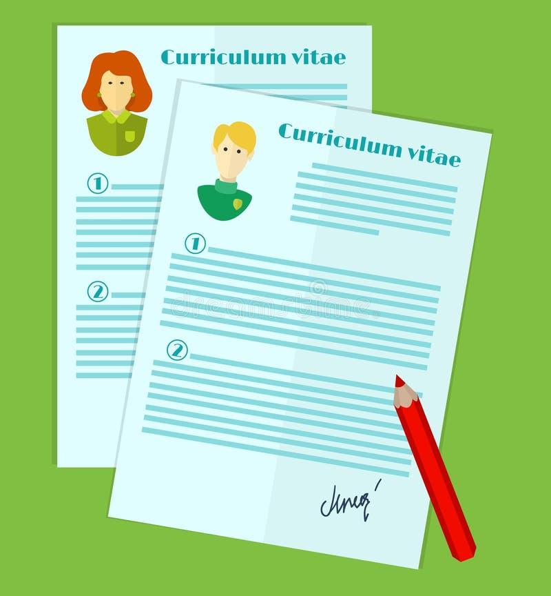 Illustration des Personalwesens, die Wahl des Kandidaten für den Job, curriculum vitae-Stapel lizenzfreie abbildung
