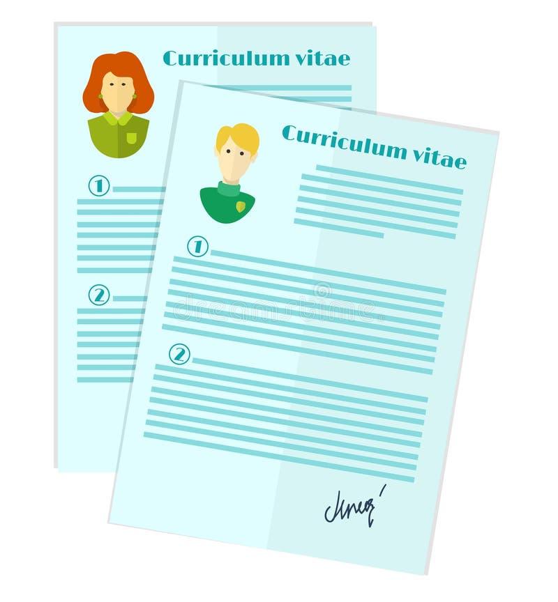 Illustration des Personalwesens, die Wahl des Kandidaten für den Job, curriculum vitae-Stapel vektor abbildung