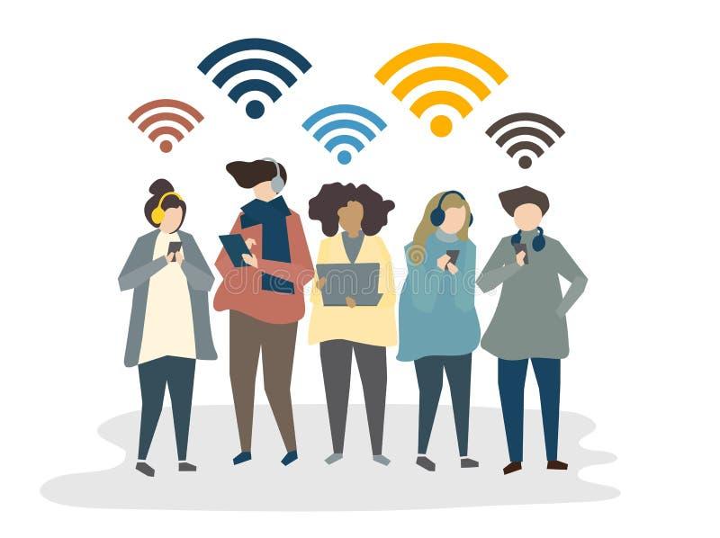 Illustration des personnes employant le media social illustration de vecteur