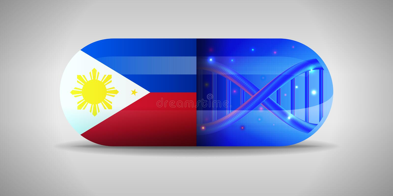 Illustration des pharmaceutiques nationales de Philippines Production de drogue à Philippines Drapeau national de Philippines des illustration libre de droits