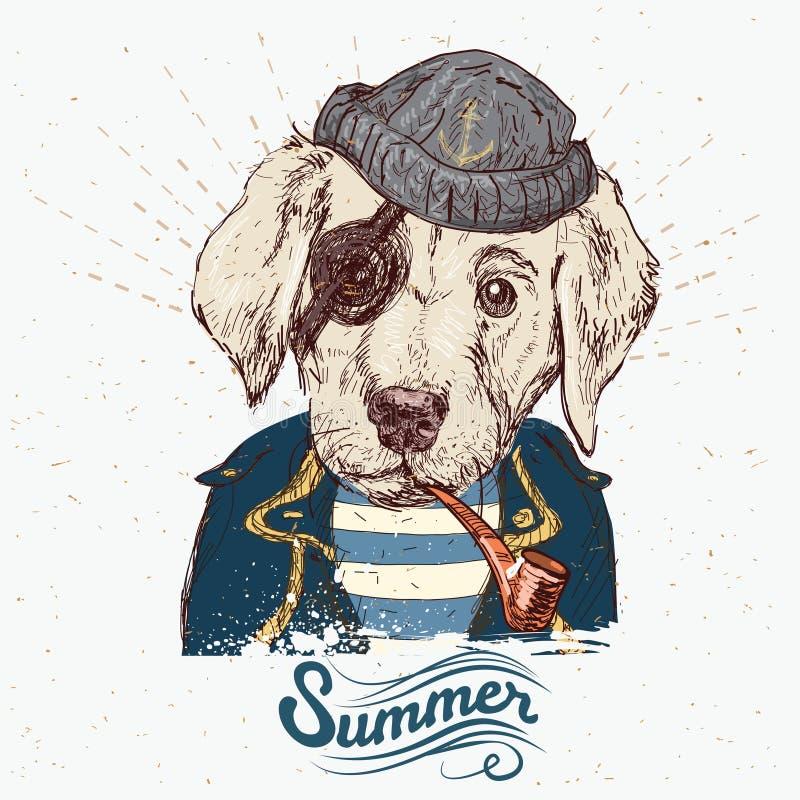 Illustration des Piratenhundes auf blauem Hintergrund im Vektor stock abbildung