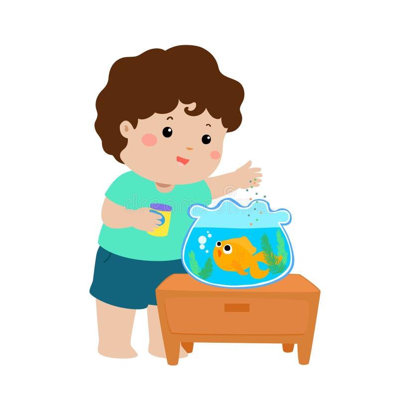 Illustration des poissons de alimentation mignons de petit garçon dans la bande dessinée d'aquarium illustration libre de droits