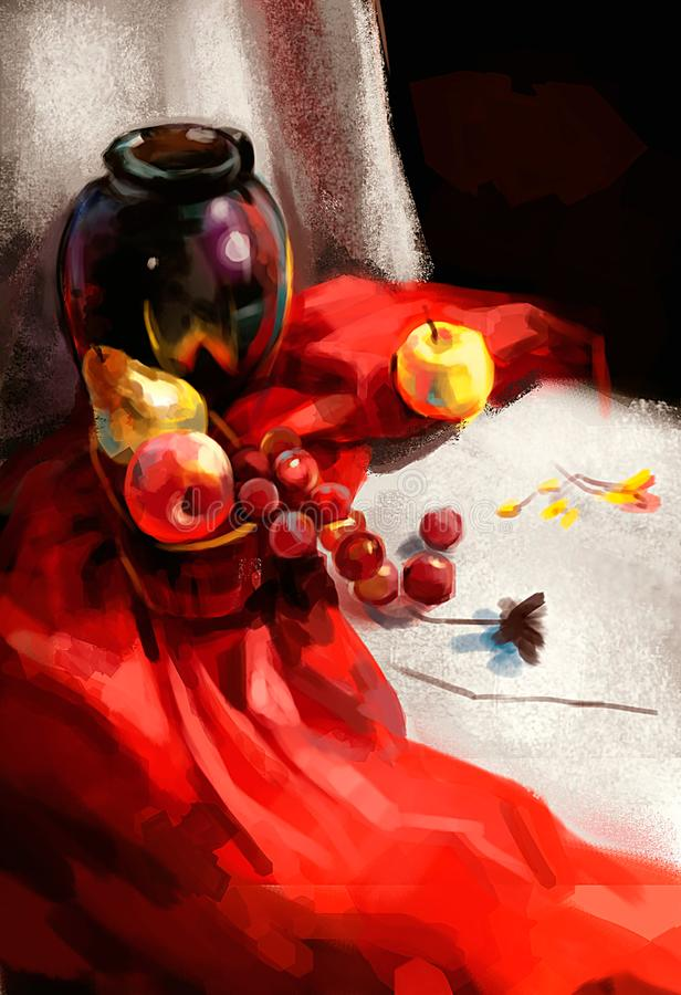 Illustration des raisins sur la table illustration libre de droits