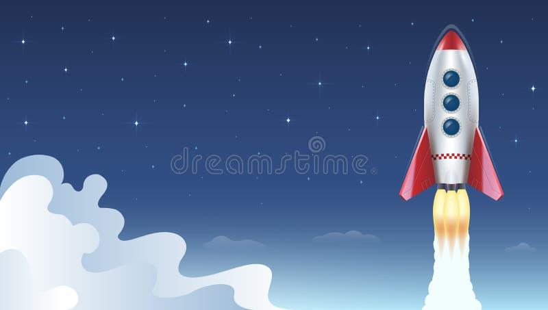 Illustration des Raketenfliegens über Wolken auf Hintergrund des Raumes und der Sterne Auch im corel abgehobenen Betrag vektor abbildung