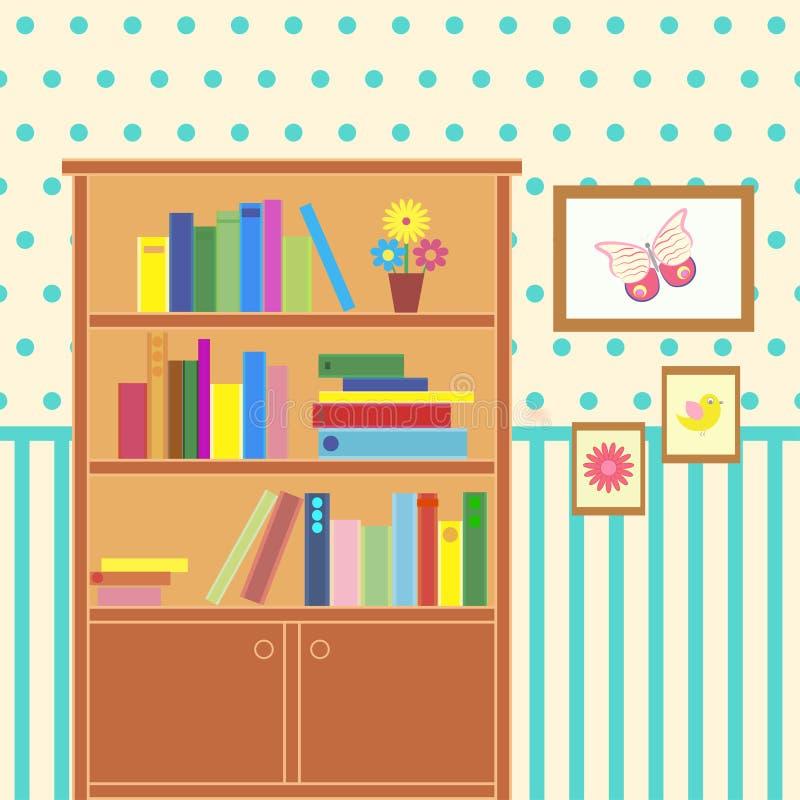 Raum mit Bücherschrank vektor abbildung