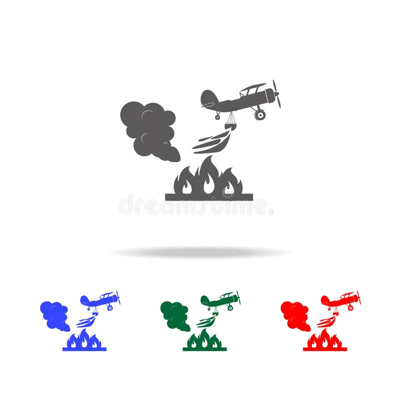 Illustration des Rettungslöschflugzeugs in der Luftikone Elemente von multi farbigen Ikonen des Feuerwehrmanns Erstklassiges Qual stock abbildung