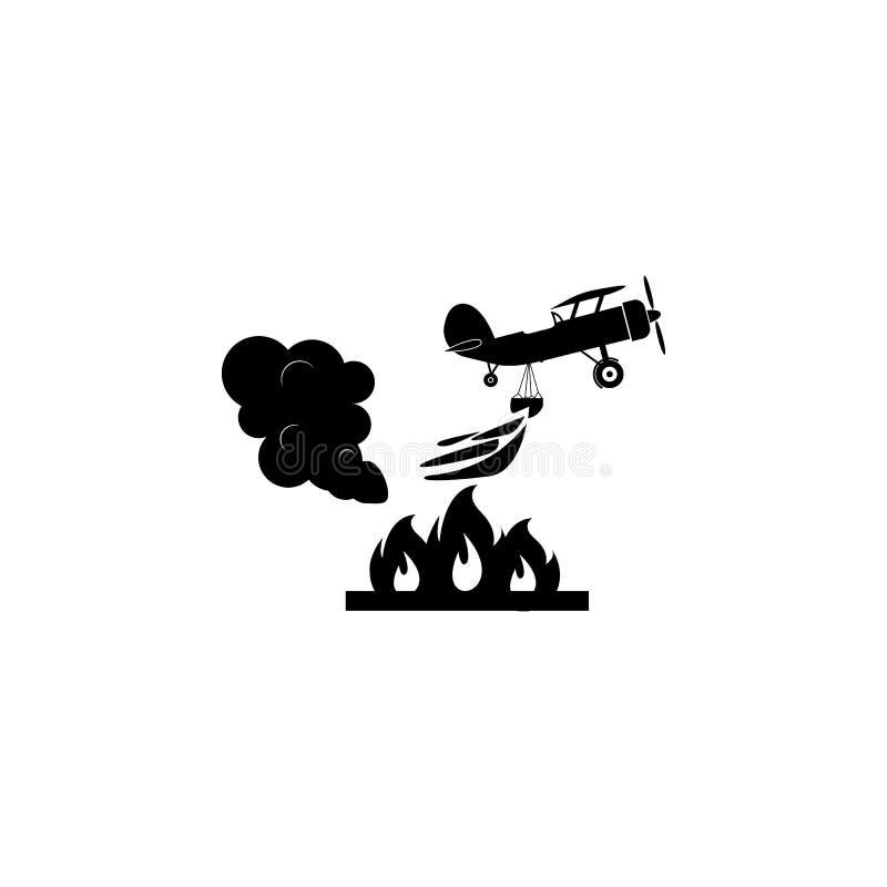 Illustration des Rettungslöschflugzeugs in der Luftikone Feuerwehrmannelementikone lizenzfreie abbildung
