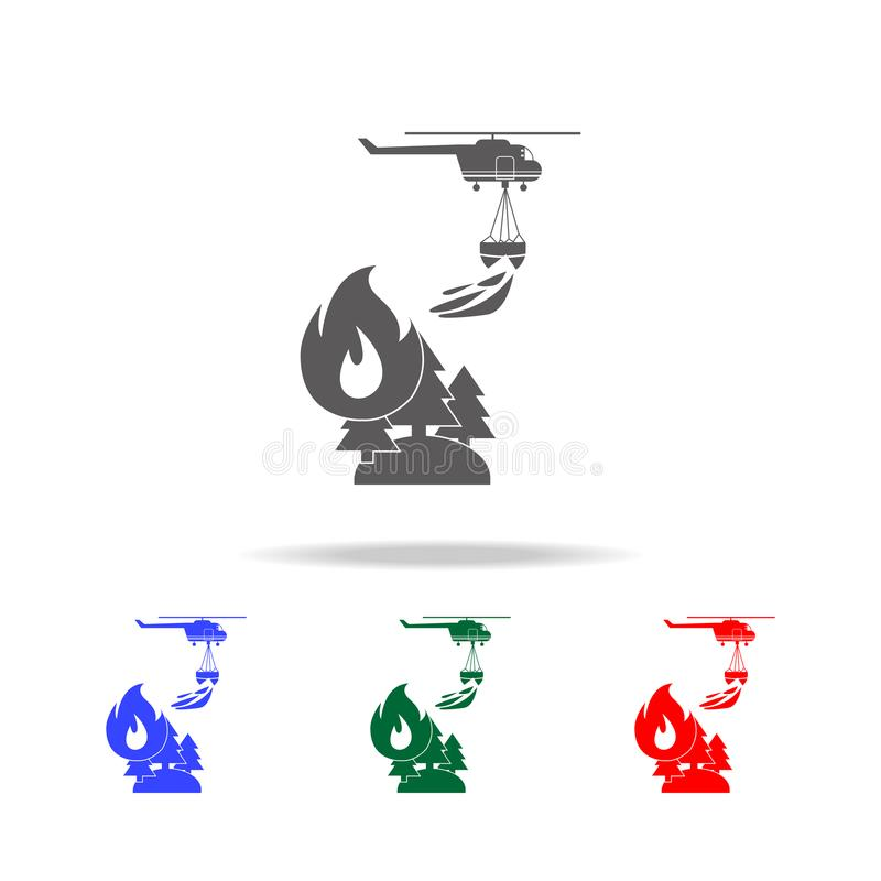 Illustration des Rettungswaldfeuerbekämpfenden Hubschraubers in der Luftikone Elemente von multi farbigen Ikonen des Feuerwehrman stock abbildung