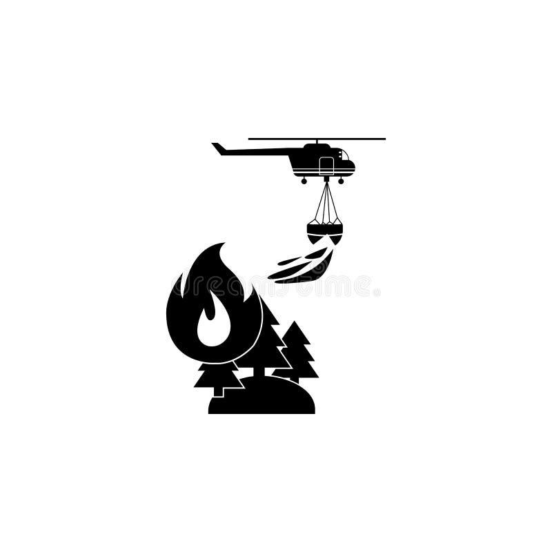 Illustration des Rettungswaldfeuerbekämpfenden Hubschraubers in der Luftikone Feuerwehrmannelementikone vektor abbildung